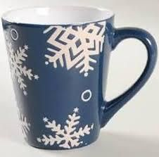 Set of 4 Pfaltzgraff Everyday Navy White Snow Flurry Coffee Tea Mugs Cups