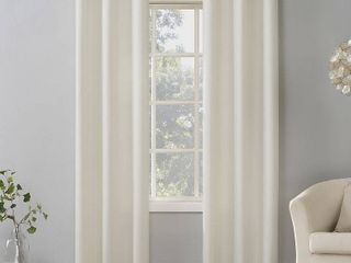 PAIR OF 84 x40  Sora Casual Textured light Filtering Grommet Top Curtain Panel Ivory   No  918