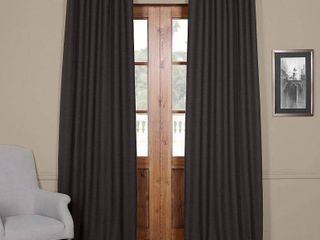 PAIR OF Exclusive Fabrics Bellino Grey Blackout Curtain Panel