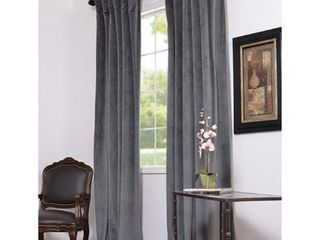 PAIR OF Exclusive Fabrics Natural Grey Velvet Blackout Curtain Panel