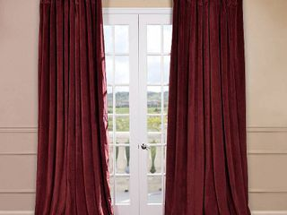 PAIR OF Exclusive Fabrics Burgundy Velvet Blackout Extra Wide Curtain Panel Retail 127 49