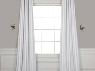 PAIR OF Exclusive Fabrics Chalk Off White Bellino Blackout Curtain
