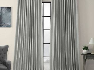PAIR OF Exclusive Fabrics   Furnishings Heather Gray Faux linen Extra Wide Blackout Curtain   100 in  W x 96 in  l  Heather Grey