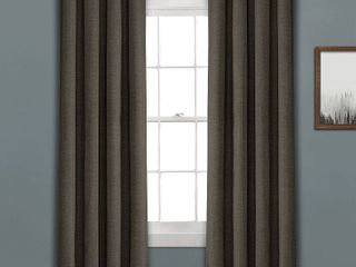 PAIR OF 84 x52  Faux linen Absolute Blackout Grommet Top Single Window Curtain Panel Charcoal   lush DAccor