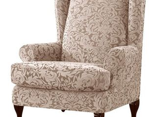 Subrtex Stretch Jacquard Damask 2 Pieces Wingback Armchair Cover