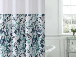 Hookless Shower Curtain Water Color Floral Print Aqua