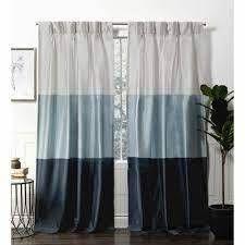 Flen Faux Silk Striped Room Darkening Pinch Pleated Curtain Panel Pair