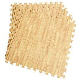 Soozier 72 Square Foot Puzzle Foam Protective Floor Interlocking Tile Mats   Wood