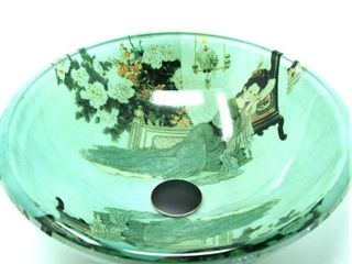 Fontaine by Italia Geisha Girl Glass Vessel Sink in Green  Green Brown Black