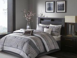 Queen 7pc Harmony Jacquard Comforter Set   Gray Taupe