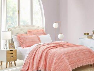 Beaute living Ruffle Stripe Clip 3  Piece Comforter Set   Unknown Size