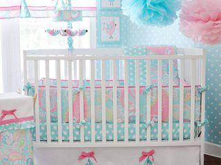 My Baby Sam Pixie Baby in Aqua 3 piece Crib Bedding Set Retail 75 98