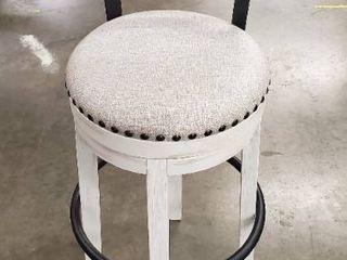 Valeback White Upholstered Swivel Bar Stool  Single