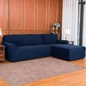 Subrtex 2 Piece l Shaped Sofa Cover Grid Navy   Right Chaise 2 Seats