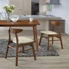 Stoltz Solid Wood Side Chair  Set of 2  Beige  Walnut