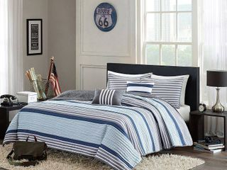 TWIN  TWIN Xl Home Essence Apartment Blain Striped Coverlet Bedding Set