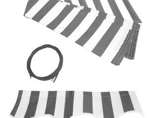 Grey White  AlEKO Replacement Fabric for Patio Retractable 12x10 ft Awning Grey White Retail 79 98