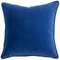 Pair of 14 x 14 Blue Velvet Throw Pillows