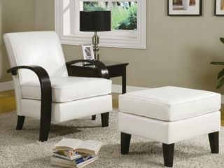 Copper Grove Jessup White Bonded leather Accent Arm Chair  Ottoman Not Included  Retail 307 49