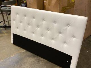 White Tufted Queen Size Headboard for Platform Bed
