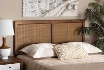 Gilbert Ash Walnut Wood and Synthetic Rattan Queen Size Headboard Retail 205 99