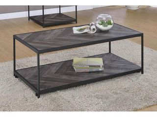 Victorville 1 Shelf Coffee Table With Casters Rustic Grey Herringbone