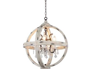 White  4 light Candle Style Globe Chandelier in withered white wood finish  Retail 287 49