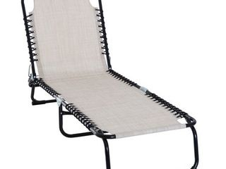 Outsunny 3 Position Reclining Beach Chair Chaise lounge Folding Chair with Comfort Ergonomic Design  White