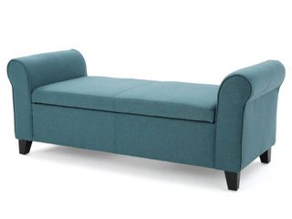 Torino Contemporary Fabric Upholstered Storage Ottoman Bench with Rolled Arms by Christopher Knight Home  Retail 199 99 dark teal and dark brown legs