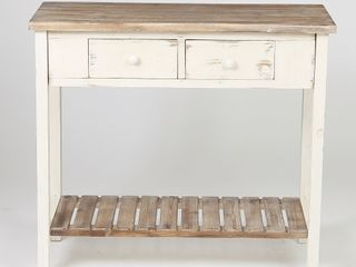 Distressed White Wood Vintage 2 drawer Console Table with Natural Wood Top  Retail 181 49