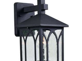 Kenroy Home Vintage Traditional Outdoor Wall lantern  12 Inch Height  Black Rustproof Powder Coated Steel  Clear Seeded Glass Panels  Edison Bulb Compatible  Easy Installation