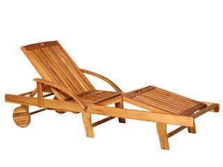 Outsunny Acacia Wood Folding Patio Sun lounger with Wheels and Pull Out Tray  Retail 201 99
