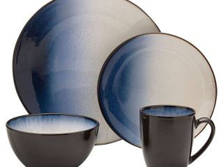 Gourmet Basics by Mikasa Asher Blue 16 piece Dinner Set  Service for 4  Retail 76 98