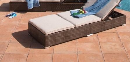 Corvus Outdoor Wicker Chaise lounge with Cushion beige