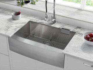 Rivage 30 x 21 Single Basin Farmhouse Kitchen Sink  Retail 317 99 stainless steel