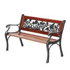 PHI VIllA Outdoor Garden Bench for Children  33  l Metal Bench with Wood Seating   Floral Pattern Back  Retail 103 99