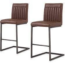 Ronan PU leather Counter Stool Set of 2  Retail 347 99 antique cigar brown