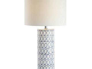 JONATHAN Y loop 28 75  Ceramic Modern lED Table lamp  Blue White  Retail 94 49