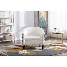 TiramisuBest Accent Barrel Chair living Room Chair PU leather White  Retail 264 49