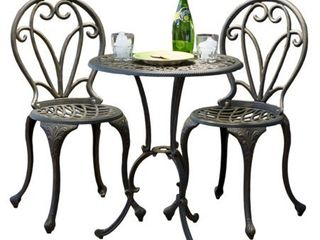 Thomas Cast Aluminum Dark Gold 3 piece Bistro Set by Christopher Knight Home  Retail 203 49