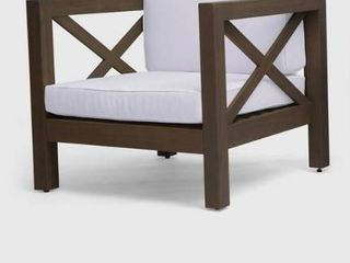 Brava Outdoor Acacia Wood Club Chair 1 only by Christopher Knight Home gray finish with white cushions