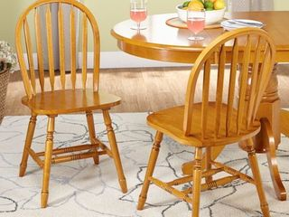 Simple living Carolina Windsor Dining Chairs  Set of 2  Retail 129 49 oak
