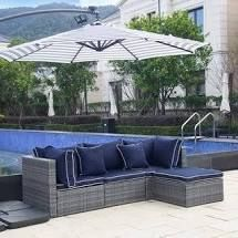 Buxsons 4 Piece Outdoor Wicker Patio Modular Sectional with Cushions  Retail 599 99 gray and navy