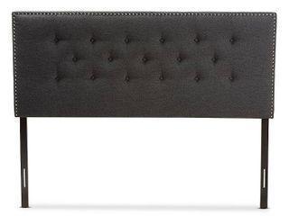 Baxton Studio Windsor Modern and Contemporary Dark Grey Fabric Full Size Headboard