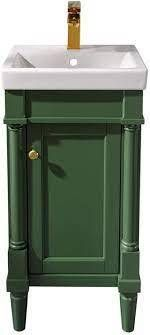 Undermount   Other   Painted   18 to 34 Inches   Modern   Contemporary   Assembled   Single   Rectangle   Single Vanities   Green   Includes Hardware   Ceramic  Retail 317 99