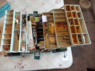 Tackle Box with Contents   Handle and 1 latch is Broke