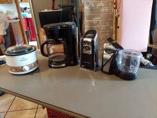 Kitchen Appliances   Crock Pot  Coffee Maker  Can Opener and Chopper