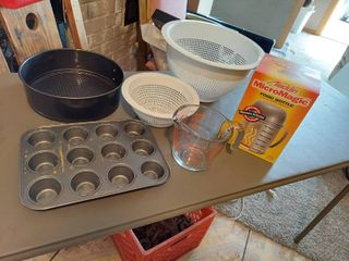 Colander  Measuring Cup and MicroMagic Food Bottle