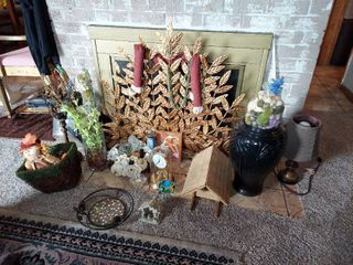 All Decor In Front of Fireplace