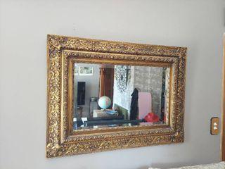 Beveled Edge Mirror in Ornate Gold Frame